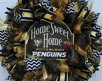 Pittsburgh Penguins Hockey Wreath-Hockey Wreath-Sports Wreath-Penguins Hockey Wreath-Hockey Door Wreath