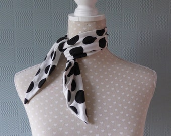 Retro spotted scarf, polka dot scarf, fifties scarf,  white with large black spots, 50's pin up rockabilly style