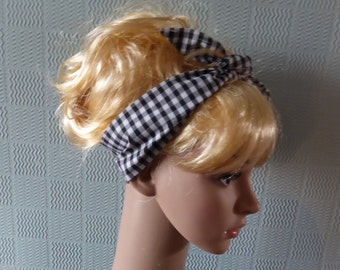 Black and white gingham scarf, retro vintage gingham scarf, rockabilly 50's scarf, gingham hair wrap, black and white headband head scarf