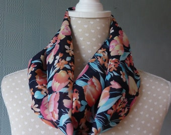 Chiffon snood scarf, summer scarf, loop scarf, coloured flowered scarf