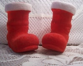 Two Flocked Santa Boots