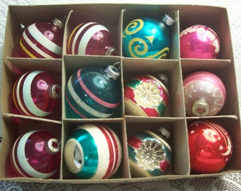 Twelve Assorted  Shiny brite Unsilvered, Indents and Stenciled Christmas Ornaments