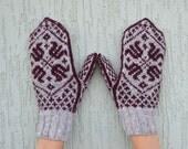 Grey dark red hand knitted mittens