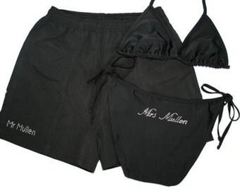 His and Hers Personalised Honeymoon Swimwear - Bikini and Swim Shorts