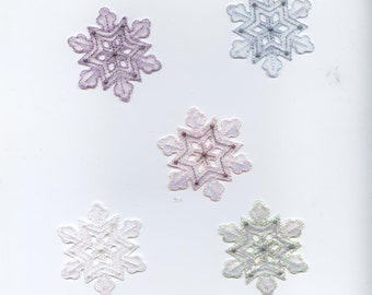 Large - Snowflake - Iridescent Shimmery - Color Choice - Iron-on Applique Patch - Embroidered - 693777
