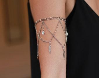 Adalyn - Silver Charm Chain Dangle Armlet