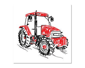 Red tractor greetings card