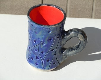 Ceramic Pottery Hand Thrown Wheel Thrown Tall Blue Mug Hand Carved Black Red Blue
