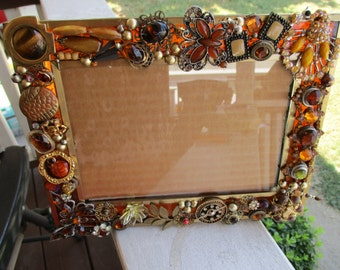 """Jeweled Pictured Frame Golds & Browns 5"""" X 7""""  Table Top"""