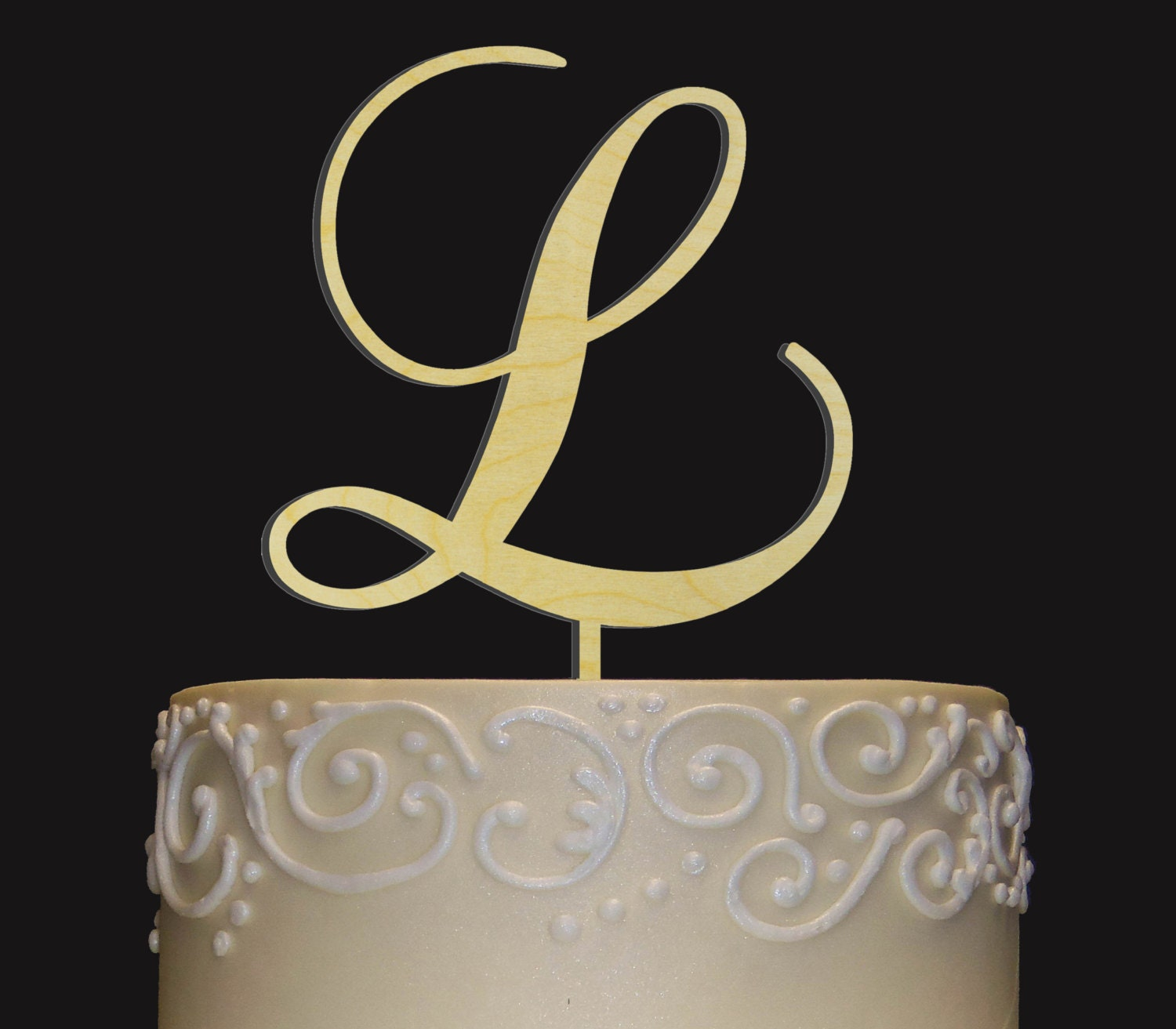 Personalized Monogram Wedding Cake Topper Rustic Chic by