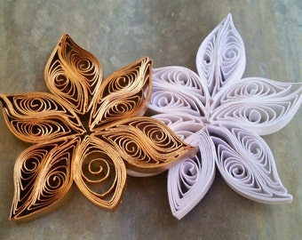 White & Gold Paper Orchid Magnet Set - Quilled Paper Orchid Locker Magnets for Back To School - Flower Refrigerator Magnets - Paper Flowers