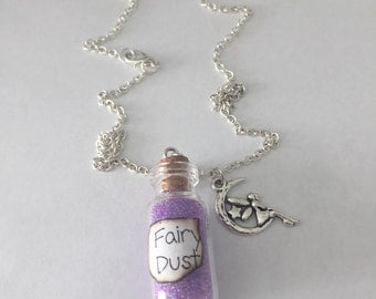 Magic fairy dust pendant charm necklace with fairy charm