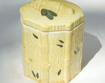 Bamboo pottery sugar pot