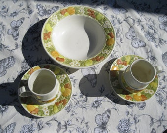 Vernon Ware by Metlox, Della Robbia , Serving bowl and 2 cups with saucers