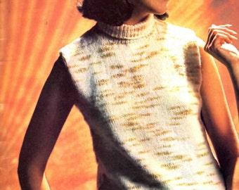 Vintage Womens 70s Sleeveless Slight Turtleneck Knitting Pattern