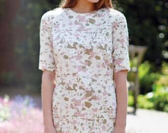 Fair Trade Organic Cotton Pink Shift Dress - UK Size 8 - Small