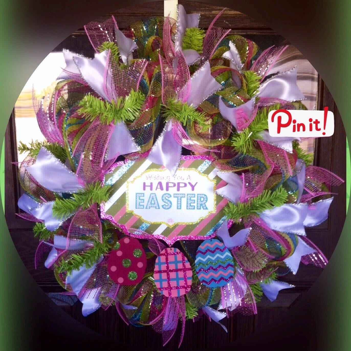 Pink And Green Front Door Easter Wreath On Etsy By