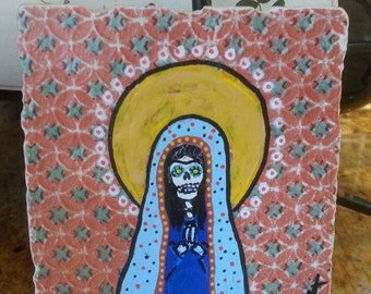 Day Of The Dead Virgin Mary Tile Art SALE CODE 15% OFF