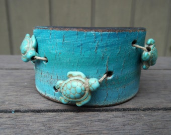 Sea Turtles Howlite Beads Turquoise Ocean Beach Distressed Upcycled Brown Leather Cuff Bracelet