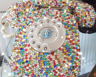 1970 Original GPO Telephone Embellished with Multi Coloured Crystals