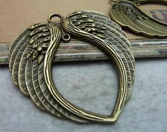 2pcs 68x73mm Huge Angel Wing Pendants Jewelry Accessories A