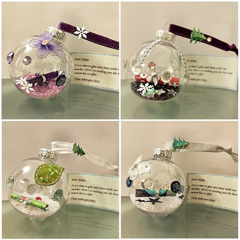 Set Of 2 Personalized Christmas Bauble Message By