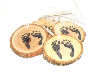 New Baby Feet print, Woodland Baby shower footprint, 10 Rustic baby feet hang tags, baby shower decorations, Table Centerpiece Decoration
