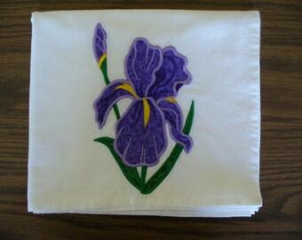 Purple Iris Realistic Flower Applique on a Flour Sack Dishtowel