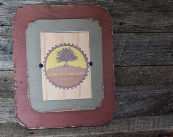 Picture Frame- Distressed Red Barn and Gray- Holds 5x7 Picture Frame