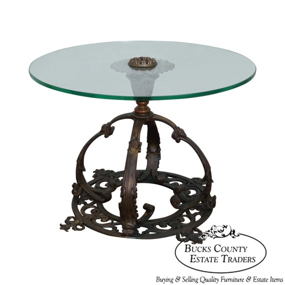 Antique bronze pedestal base round glass top by for Round pedestal coffee table antique