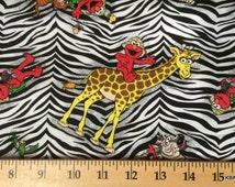 Elmo Fabric By the Half Yard Sesame Street Fabric Zebra Fabric Black & White 100% Cotton Quilting Apparel Fabric 6r