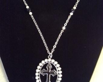 Black Epoxy Cross Pendant Necklace