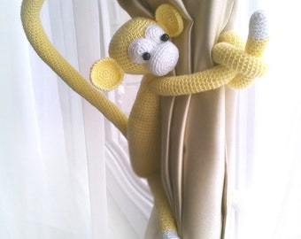 Monkey curtain tie back,1 pcs,Shabby chic curtains,Crochet Curtain Tie Backs,Nursery tie backs,Nursery curtains,Monkey curtains,etsy.com
