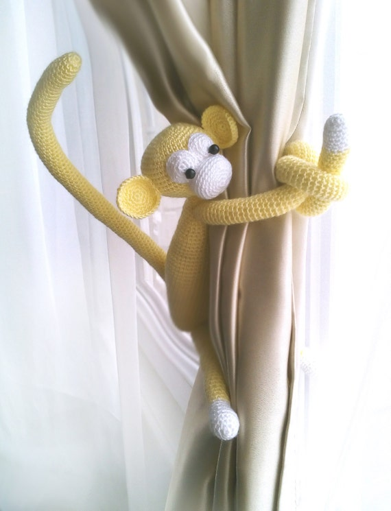 monkey curtain tie back1 pcsshabby chic curtainscrochet. Black Bedroom Furniture Sets. Home Design Ideas