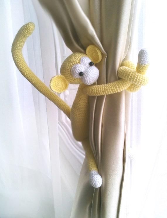 monkey curtain tie back1 pcsshabby chic curtainscrochet. Black Bedroom Furniture Sets. Home Design Ideas