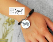 Silver Disc Bracelet, Personalized Your Artwork, Handwriting Engraved Bracelet, Custom Signature Leather Bracelet, Christmas Gift