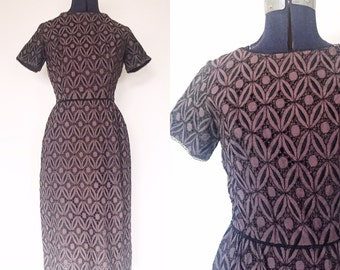 1950s L'Aiglon Plum Cut Out Lace Dress | Size Small to Medium | Cutwork and Embroidery Wiggle Dress | Midcentury