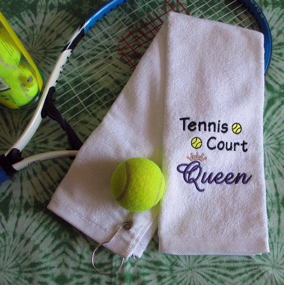 Custom Embroidered Tennis Towel Tennis Court Queen All