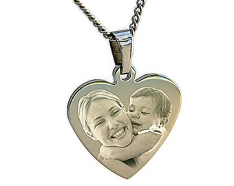 Photo & text Engraved Personalised Stainless Steel Photo PENDANTS Different Shapes