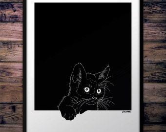 Kitten black and white cat illustration print