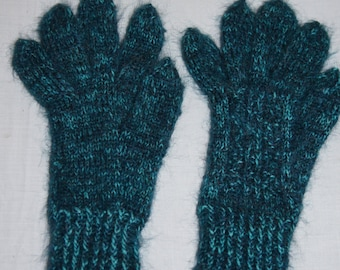 Vintage 1950's - Handmade, Woven, Heathered Black And Teal Wool Gloves