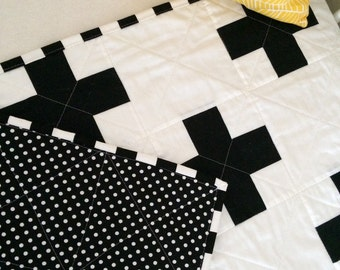 Black and White Plus Cot Quilt - Monochrome - One Available NOW