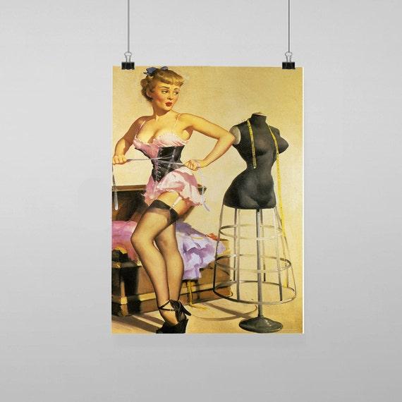 Pin Up Girl Sexy Vintage Reproduction Wall Art Decro Decor