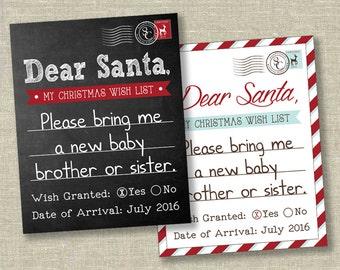 Christmas pregnancy announcement, christmas announcement, holiday pregnancy announcement, santa pregnancy announcement, PHOTO PROP