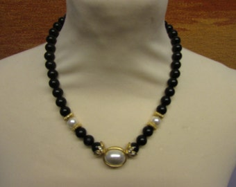 1960s plastic black bead & faux pearl necklace with unusual gold-tone findings