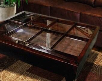 ON SALE Window Shadow Box Coffee Table, Rustic Window Furniture, Coffee  Table With Storage
