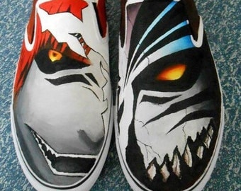 Hand Painted Bleach Manga Canvas Shoes