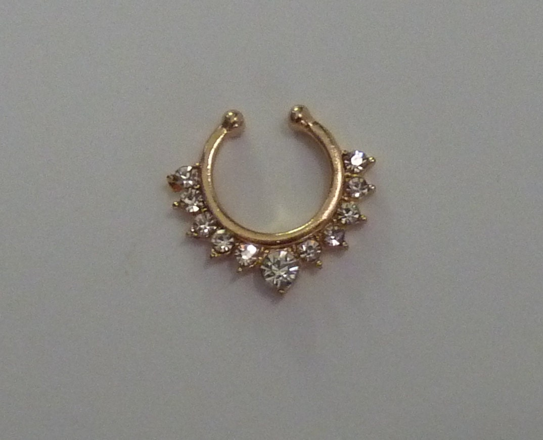 gold fake septum ring gold crystal fake by bluebubblecrystals. Black Bedroom Furniture Sets. Home Design Ideas