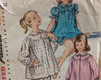 Simplicity 1828 vintage 1950's girl's pajamas and nightgown sewing pattern size 10 or size 12