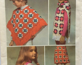 Simplicity 9742 vintage 1970's crochet instructions for girls poncho, skirt, hat, scarf & bag